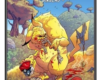 Pikachu - Poketrash poster [Illustration:] Fan Art. Manga. Anime. Video Game. Gore. Pokémon.