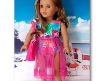 "18"" Doll Clothes. Hawaiian swimsuit, matching pink skirt & canvas pink beach bag.  (Clothes only, American Girl, Lea not included)"