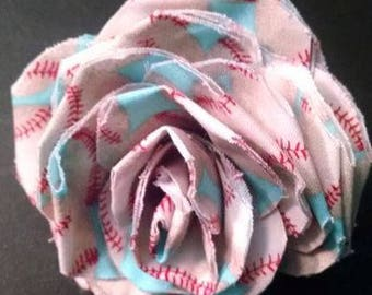 Fabric Rose Barrette Baseball