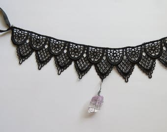 Elegant Black Lace Wire-Wrapped Crystal Choker Necklace