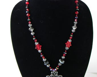Gothic red and black necklace and earring set