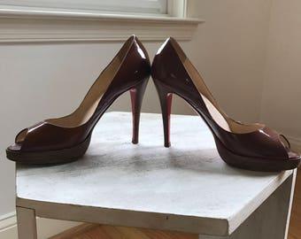 Christian Louboutin - Caramel Peep Toe Pump, Patent Leather