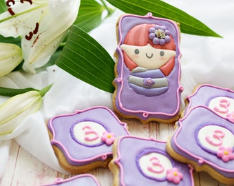 Birthday party favours, personalised cookies, monogram cookies, treats for party, biscuits, 1st birthday gift,geisha cookies, baked goods