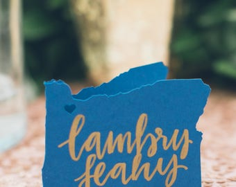 Custom place card lettering