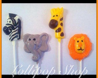 12 Jungle Animal Chocolate Lollipops (animal party favors, baby shower, jungle party favors)