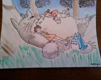 Sleeping Totoro inspired Original 7X5 watercolor painting