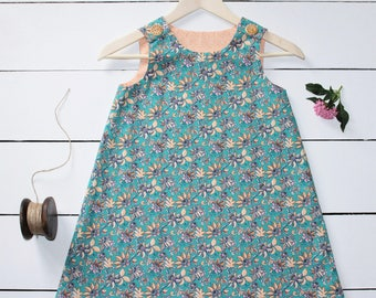 "Teal ""Dreamer"" Girls A-Line Dress"