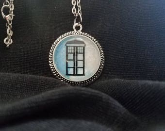 Hand-painted Blue Tardis Pendant Necklace