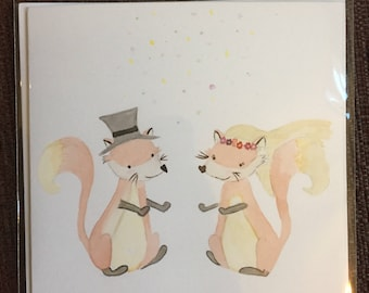 Hand painted watercolour wedding card with foxes