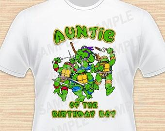 Teenage Mutant Ninja Turtles Iron On Transfer. TMNT Auntie of the Birthday Boy Iron On. Ninja Turtles Birthday Shirt. Download Printable 1
