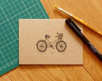 Hand drawn pen bicycle greeting card