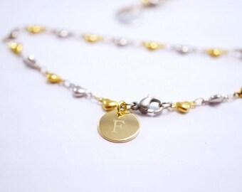 Bracelet ~ sweet heart ~ engraving ~ bicolour