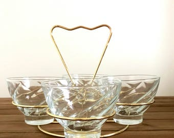 Mid Century 4 Glass Brass Bar Caddy with Vintage Glasses | Vintage Barware | Brass Caddy | Cocktail Glasses | Vintage Glassware
