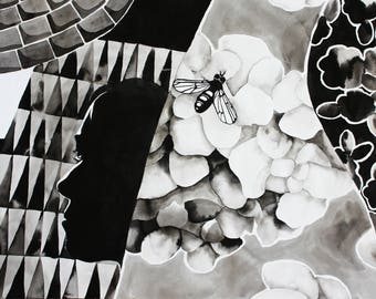 India Ink Collage Drawing 1