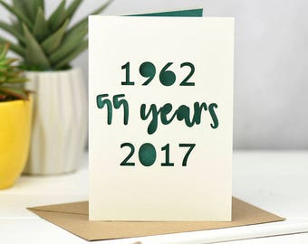 Emerald Wedding Anniversary Card - 55th Wedding Anniversary - 55 years - Emerald Card - Anniversary Card - Fifty Five Years - Laser Cut Card