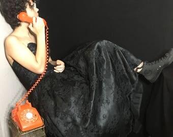 80's Scott McClintock Tea Length, Bustier Top, Tafeta, Lace and Sequined Dress / Evening Gown. Size 8