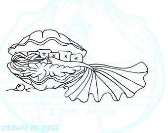 DIGITAL STAMP, Coloring page.mermaid