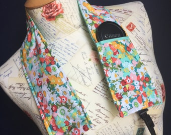 Camera Strap Cover with Lens Pocket Ready to Ship Canon Nikon DSLR Photographer Photography #301 Flowers Floral Arrows