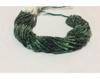 Natural Emerald Shaded Faceted Rondelle Beads | Emerald Beads | Emerald Rondelle | Faceted Emerald