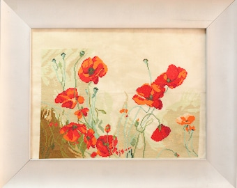 Cross stitch picture poppy flowers