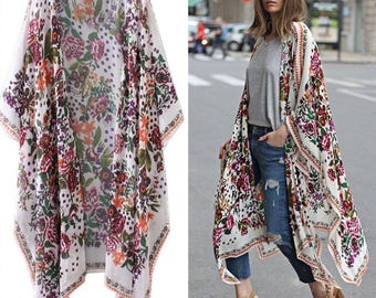 Boho floral kaftan-blogger style, fashionistas favourite layering piece