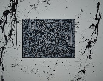 Black and White 2D Abstract Painting