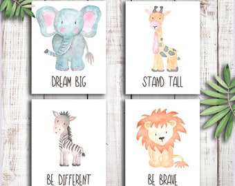 Baby Animal Nursery wall art,Safari Nursery prints,Animal Watercolor Painting,African animals prints,Kids Room,Elephant Giraffe Zebra Lion