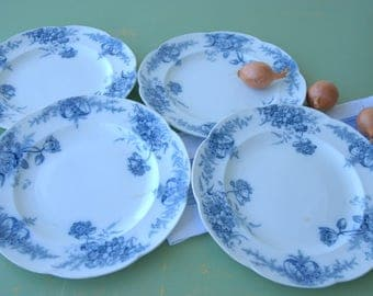 Set of 4 French Ironstone Plates. E. Bourgeois. Blue and White. Creamware.
