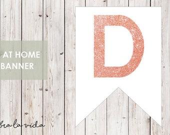 DIY Banner - 'D'. Instant Download. Printable Banner Letters. Pink Glitter. - 01