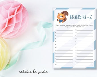 Instant Download Baby A-Z Baby Shower Game. Printable Baby Shower Baby Boy Game. Blue