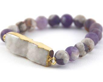 Amethyst Druzy Bracelet, 10mm, Frosted Beads, Matte Beads, Purple Gemstone Bracelet, Purple Beads, Lavender Beads, Violet