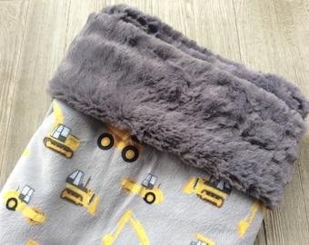 Minky Construction Blanket - Luxe Minky - Grey Graphite