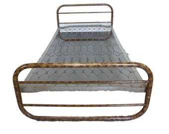 Art Deco bed frame in lacquered steel tube with metal frame - 1940s