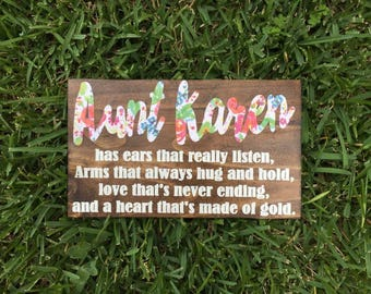 Heart made of gold-wooded sign-hand painted-lettering-wall decor-gift-aunt-grandparents