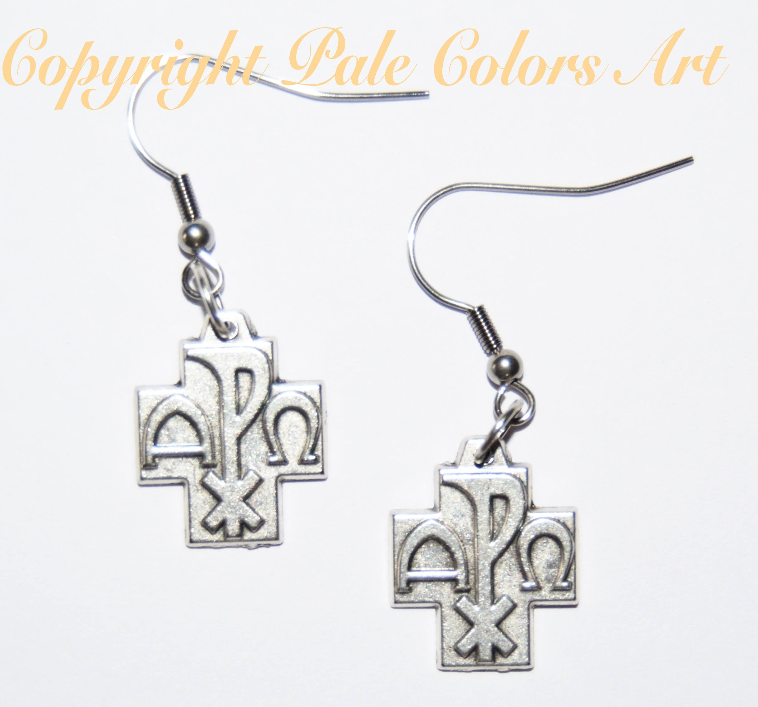 Cross earringsalpha omega earrings stainless steel cross earringsalpha omega earrings stainless steel hypoallergenic non tarnish ear wiresgreek symbols alpha omega earringscross earrings buycottarizona