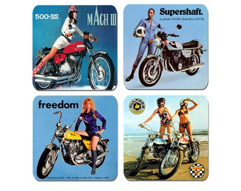 High Quality Cork 1970's Girls And Their Motorcycles Coasters Set Of 4 .Vintage Motorbike Biker Classic Seventies Bike Gift