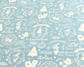 Japanese Fabric Kokka Alice in Wonderland Cotton Linen Canvas - blue - 50cm
