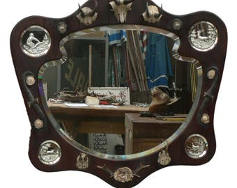 outstanding hunting wall mirror ca. 1910