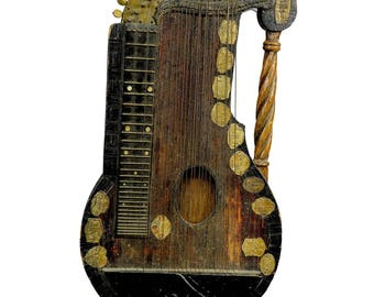 folk art zither made of matchsticks by a wayfarer