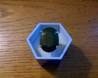 Sterling Silver Emerald Ring HUGE