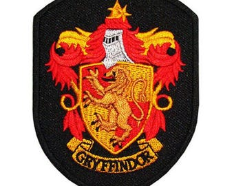 Harry Potter Hogwarts Gryffindor Black House Crest Sew On or Iron On 2.75 Inch Application Applique Patch- FREE DOMESTIC SHIPPING