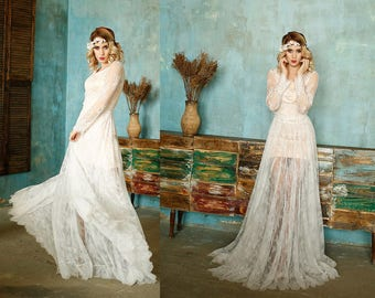 Vintage wedding dresses, Bohemian Dress, wedding dress