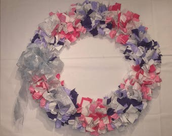 Pink, Purple, and White Cloth Wreath