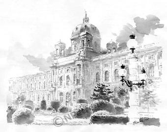 Reproduction Art Print watercolors Vienna Austria Cityscape Custom Home Portrait Black and white art landscape Sightseeing