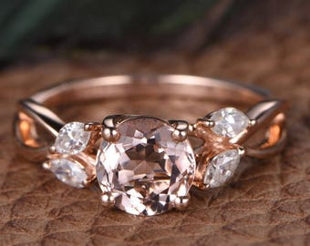Antique Morganite Engagement 1.2ct 14K Rose Gold Ring, Anniversary Gift, Gift for her