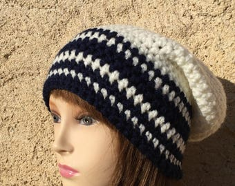 Loose black and white crochet Hat