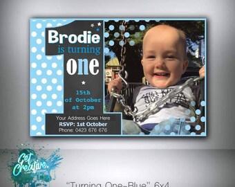 First birthday invitation boy - digital file supplied