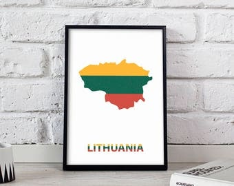 Lithuania art Country Map poster wall art wall decor print