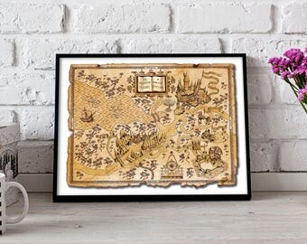 Harry Potter Map print Harry Potter Map poster Wizarding World Harry Potter print Harry Potter poster  Gift poster