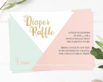 Baby Shower Diaper Raffle Cards Diaper Raffle Ticket Printable Baby Shower Diaper Invitation Diaper Raffle Printable Pink Gold Glitter GP1
